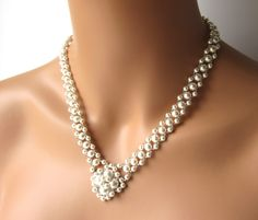 Multi Strand Pearl Necklace, V Necklace, Bridal Necklace, Wedding Jewelry, Backdrop Necklace, Beaded Jewelry, WHITE or IVORY, Swarovski See more here: https://www.etsy.com/listing/75487198/multi-strand-pearl-necklace-v-necklace?ref=shop_home_active_4