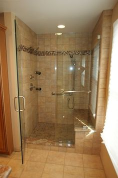pinterest master bathroom ideas | Shower. Frameless door.