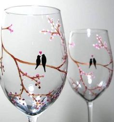 3 art - four season birch tree, painted glass wine