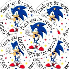 20 Sonic Hedgehog Round stickers labels birthday