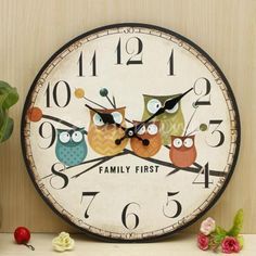 Large-Wall-Clock-Owl-Vintage-Rustic-Shabby-Chic-Home-Office-Cafe-Decoration-Art