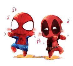 「デプスパ詰め」/「kima」の漫画 [pixiv]   Spideypool   Chibis   Dancing   Spiderman   Deadpool