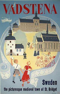 Vadstena vintage travel poster
