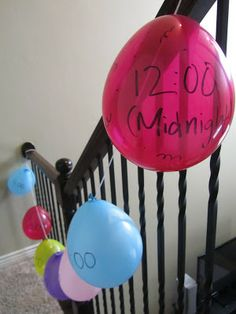 New Year's balloon countdown.  Do a new activity each hour:: pinning with purpose