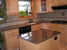 Tile Backsplash To Coordinate With Baltic Brown Granite Master Granite Marble Tile Tile Stone Countertops