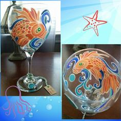 Gold fish wine glass by I.M.Creating www.facebook.com/illym.creating