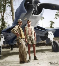 Ensign Hal Bitzegio and his p/c by F4U-1A #35 at Ondongo, New Georgia during Nov. 1943. (VF-17 Jolly Rogers)