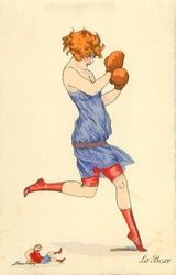 Sager, Xavier Woman Boxing (w Very Tiny Man) Vintage Humor, Vintage Box, Traditional Tattoo Woman, Boxing Posters, Sports Posters, Boxing Images, Art Deco Artists, Postcard Art, Victorian Art