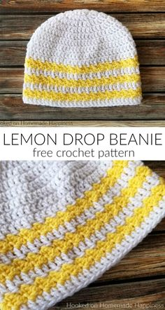 Lemon Drop Beanie Crochet Pattern (CAL for a Cause)   Hooked on Homemade Happiness Crochet Adult Hat, Crochet Cap, Crochet Geek, Crochet Baby Hats, Easy Crochet, Free Crochet, Booties Crochet, Crochet Towel, Crocheted Hats