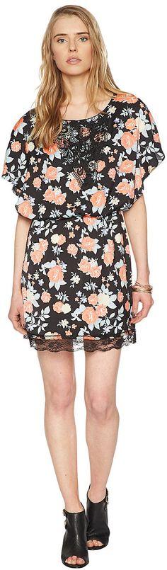 florales Satin-Kleid mit Spitze für Frauen (gemustert, mit halben Fledermaus-Ärmeln und Rundhals-Ausschnitt) aus leicht glänzendem Satin, mit unifarbenem Underlayer, eingefasstes Elastik-Band an der Taille, Ausschnitt mit Häkelspitze, Saum mit Spitzenborte. Material: 100 % Polyester...