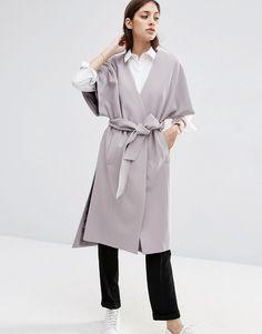 Image 1 ofASOS Duster Coat with Kimono Sleeve