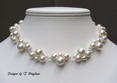 Bridal Pearl Necklace Swarovski Pearls and Crystals Woven in White Wedding Jewerly Customizable on Etsy, $56.00