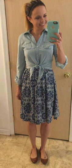 Nicole Dress paired with a denim shirt