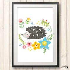 Hedgehog illustration, kids poster, children's wall art, digital poster, nursery decor, kids wall decor by Dodlido on Etsy