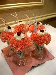 "Almost good enough to eat!! ""Ice Cream"" floral arrangements created by our in-house floral designer! View more at facebook.com/flowersbythewestwood #yummy #icecream #flowers"