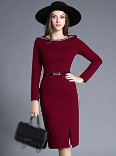 Sexy Split-Front Wine Red Skinny Dress