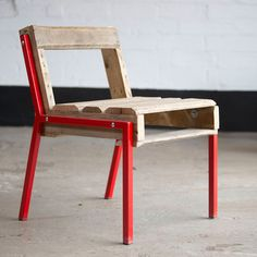 Low Back Pallet Chair Red, $194, now featured on Fab. Have seen some amazing things lately that can be made from discarded wood pallets. I like this take on that.