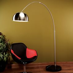 Lumisource Arch Floor Lamp in Brushed Chrome , Black Marble