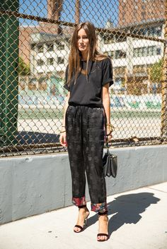 Pajama Pants, a Tee With Rolled Sleeves, and Heels