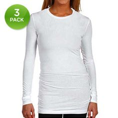3-Pack: 100% Cotton Long-Sleeve Tunic Tops.  They might actually be long enough for me??!!