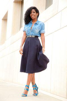 Hubby's Denim Shirt x Pinstripe Skirt
