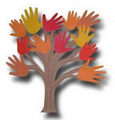 An autumn version of the hand print tree is hosted on pinterest using fall color construction paper for the cut outs of the kids hands. Description from munchkinsandmayhem.blogspot.com. I searched for this on bing.com/images
