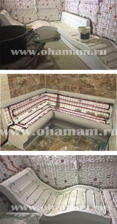 Лежаки для хамама. Монтаж Sauna Steam Room, Steam Bath, Sauna Room, Home Spa Room, Spa Rooms, Saunas, Japanese Soaking Tubs, Sauna Design, Heating And Plumbing