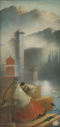 D. P. Roy Chowdhury (1899 - 1975).  Untitled.            Medium: Water colour and gold on paper pasted on mount board.     Year: 1920s
