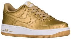 metallic shoes for kids   gold Nike Air Force 1 low-tops