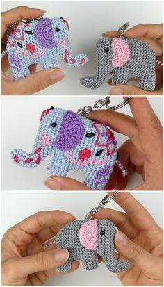 Crochet Elephant Amigurumi Key Chain - We Love Crochet Quick Crochet, Love Crochet, Crochet Yarn, Crochet Toys, Hand Crochet, Crochet Keyring Free Pattern, Crochet Elephant Pattern, Amigurumi Patterns, Knitting Patterns