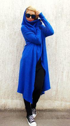 Plus Size Wool Blazer / Royal Blue Wool Cardigan / Hooded Blazer / Asymmetrical Blazer TC23 / FALL WINTER 2014