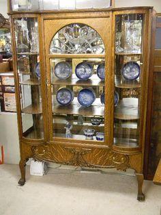 Beautiful oak curved glass china cabinet!!   Furniture   Pinterest ...