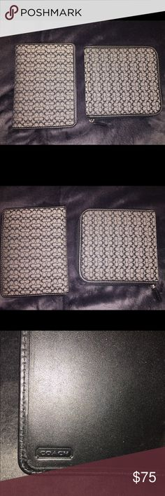 Auth Coach photo album & Cd dvd or blue ray holder Authentic Coach photo album and cd, dvd or blue ray disk holder bought and never used, excellent like new condition color is black and gray/white.. Reasonable offers are welcome, I believe the size pictures it will hold 4x6 and you will be getting both of these! Coach Accessories