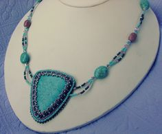 Turquoise Handmade beaded necklace by Blazinbeads