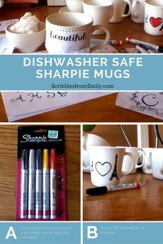 Scribbles from Emily: Tutorial: Dishwasher-Safe Sharpie Mugs craft sharpie mug diy dishwasher gift christmas teacher 169236898477660659 Mug Crafts, Sharpie Crafts, Diy Sharpie Mug, Diy Crafts For Gifts, Easy Diy Crafts, Sharpie Doodles, Mug Decorating Sharpie, Sharpie Plates, Sharpie Paint Pens