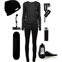 Cooler Than The Other Side Of Your Pillow /// All Black Outfits Teens Outfit Skater Girl Outfits Belly Rings Black Jeans Sexy Grunge Outfits, Cute Emo Outfits, Bad Girl Outfits, Scene Outfits, Punk Outfits, Gothic Outfits, Teen Fashion Outfits, Punk Fashion, Fashion Wear