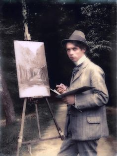 German artist Max Ernst as a teenager, painting in the park, 1909.    https://painters-in-color.tumblr.com/image/148111085867