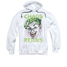 Trevco Adult Batman Classic TV Chaos Reigns Pull Over Fleece Hoodie Medium White @ niftywarehouse.com #NiftyWarehouse #Batman #DC #Comics #ComicBooks
