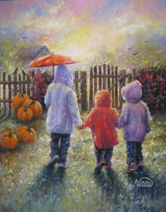Vickie Wade  ~~~This reminds me of my 3 kids walking together once upon a dream. They even wore their raincoats in these colors.  ~~Suzanne V. Morgan