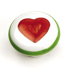 """Laurey 01846 1 3/8"""" Porcelain Knob - White and Green Knob with Red Heart in the Porcelain Knobs collection"""