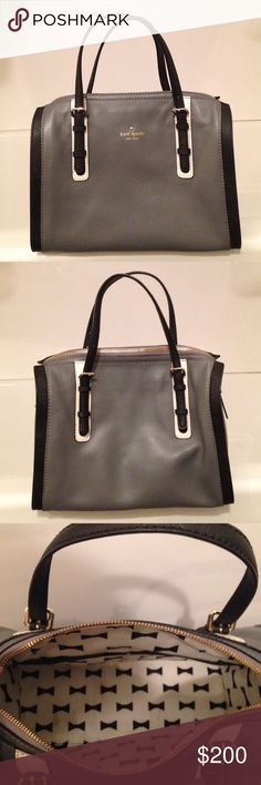 """Kate Spade grey leather handbag Kate Spade grey leather handbag with black and white accents. Black and white bow pattern interior. A few pinkish stains on the bottom of interior. Otherwise in fantastic condition. Dimensions 12""""L x 6""""W x 9.5""""H kate spade Bags"""