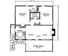 First Floor Plan of Cabin Vacation House Plan 90433 Guest House Plans, Cabin House Plans, New House Plans, Woodworking Guide, Custom Woodworking, Woodworking Projects Plans, Building A Cabin, Building Ideas, Cabin Homes
