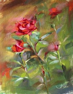 "Daily Paintworks - ""Red Rose Garden Plein Air"" - Original Fine Art for Sale - © Pamela Blaies"
