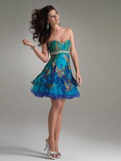 Short Strapless Printed A-Line Dress with Empire Waistline Homecoming Dress