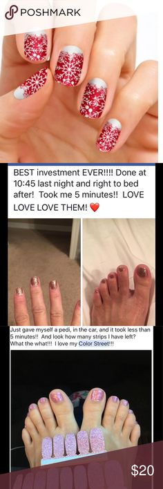 100% Nail Polish goes on dry! Brand new company – launched June 2017. 100% nail polish… Topcoat, polish &! basecoat included in each strip. Each kit comes w/16 two sided strips. No heat / tools needed…Color lasts 14 days+. One kit - approx 1 mani & pedi -even more w/smaller nails. Takes just minutes to apply – ZERO DRY time! PREORDER ITEM. To see  info, client testimonials & photos... click on my link at the top of my closet. Many more styles to choose from. BUY 3 GET 1 FREE!  💅🏻GROUND…