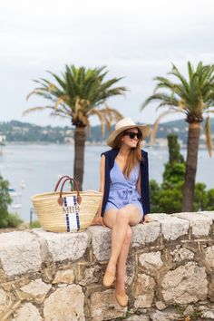 f9baa5ddb6e2a tuckernuck celia romper and mark   graham hand-painted straw beach bag  Spring Fashion Outfits