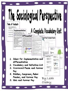 The vocabulary of Sociology can be daunting for high school students. That's why it's important to guide them through it. After several years of teaching sociology, these are the 22 most important terms I think they need to know in a unit on the sociological perspective, complete with list, definitions, puzzles, quiz, and answer keys! (scheduled via http://www.tailwindapp.com?utm_source=pinterest&utm_medium=twpin&utm_content=post805383&utm_campaign=scheduler_attribution)