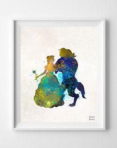 Beauty and Beast, Disney, Print Watercolor, Poster, Art, Illustration, Watercolour, Giclee Wall, Kid Nursery, Cartoon, Home Decor [NO 238]