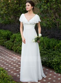 A-Line/Princess V-neck Floor-Length Chiffon Wedding Dress With Ruffle Cascading Ruffles (002026076) - JJsHouse