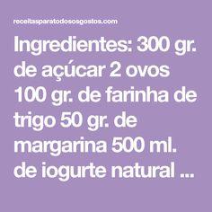Ingredientes: 300 gr. de açúcar 2 ovos 100 gr. de farinha de trigo 50 gr. de margarina 500 ml. de iogurte natural Preparação: Bata o açúcar com os ovos, adicione a farinha, a margarina derretida e por último os iogurtes. Unte formas de queijada com margarina, polvilhe com farinha e distribua a massa por elas …